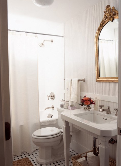 Gold Ornate Mirror Transitional Bathroom Anne Coyle