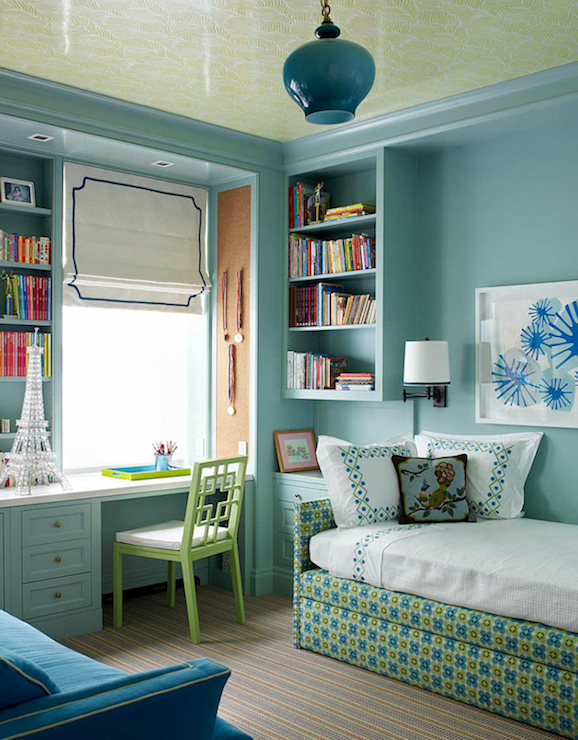 Katie Ridder - girl's rooms - West Elm Overlapping Squares Chair, daybed, kids daybed, upholstered daybed, turquoise blue walls, overlapping squares chairs, built in desk, turquoise desk, turquoise blue desk, open bookshelf, cork pin board,
