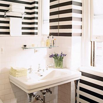 Elle Decor - bathrooms - stripe wall, striped wall, black and white striped wall, white and black striped wall, horizontal striped walls, black and white bathroom,