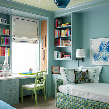 Katie Ridder - girl's rooms - daybed, kids daybed, upholstered daybed, turquoise blue walls, overlapping squares chairs, built in desk, turquoise desk, turquoise blue desk, open bookshelf, cork pin board, West Elm Overlapping Squares Chair,