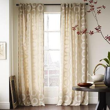 Window Treatments - Cotton Canvas Printed Woodblock Circles Window Panel | west elm - woodblock, circles, panels