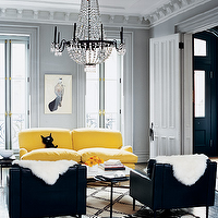 Melanie Acevedo Photography - living rooms - canary yellow, sofa, black, leather, chairs, black, white, zebra, cowhide, rug, crystal, chandelier, gray, walls, gray, yellow, black, living room, yellow sofa, canary yellow sofa, yellow and gray room, yellow and gray living room, gray and yellow room, gray and yellow living room,