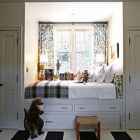 Kristen Panitch Interiors - boy's rooms - built-in, bed, drapes, headboard, window seat, plaid, stool, lamps, striped, black, white, rug,  Built-in