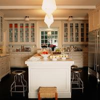 Kristen Panitch Interiors - kitchens - industrial stools, glass-front, white, kitchen, cabinets, white, marble, countertops,  Glass-front white
