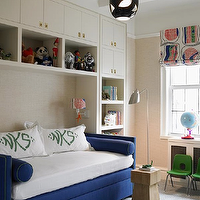 Katie Ridder - boy's rooms - blue daybed, daybed, velvet daybed, blue velvet daybed, monogrammed pillows, bolster pillows, blue bolster pillows, daybed with bolster pillows, built ins, built in cabinets, kids daybed, boys daybed, kids toy storage, kids built ins, kids built in cabinets,
