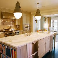 Kristen Panitch Interiors - kitchens - gray, kitchen, cabinets, calcutta, marble, countertops, subway tiles, backsplash, pot filler, stacked dishwashers, gray, light, pendants,