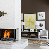 David Jimenez - living rooms - brick fireplace, white fireplace, white brick fireplace, painted fireplace,  Yellow & chocolate brown living room