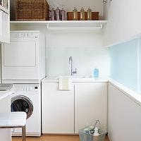 House to Home - laundry/mud rooms - white, cabinets, white, washer, dryer, wicker, baskets, blue, walls, paint, color, laundry room,  Modern