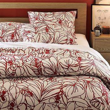 Bedding - Sketch Duvet Cover + Shams | west elm - red, bedding, duvet