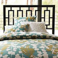 Bedding - Pressed Leaf Duvet Cover + Shams | west elm - blue, gold, duvet, shams, bedding