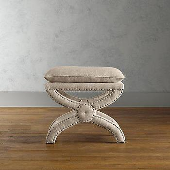 Seating - Toscane Linen Nailhead Bench | Ottomans & Benches | Restoration Hardware - nailhead trim, ottoman, bench