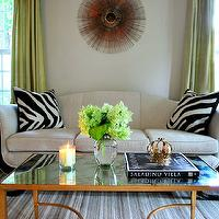 Teresa Meyer Interiors - living rooms - Benjamin Moore - Pale Oak - vintage, sofa, lamp, crystal, table, mirror, sunburst, zebra, pillow, west elm, antique, vintage, brass, gold, brown, green, white, gray, grey, Crate & Barrel, traditional, rug, stripe, drape, silk, pottery barn, brass coffee table,