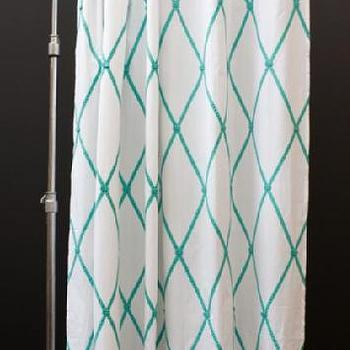 Bath - India Rose - Shop - Ginny Shower Curtain - turquoise, blue, lattice, shower, curtain