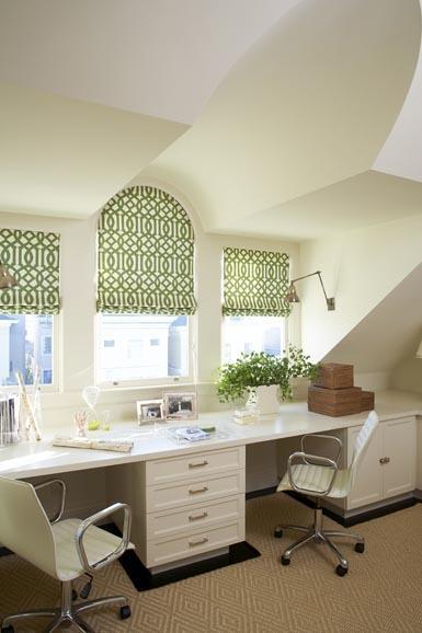 Trellis window treatments transitional den library for Benjamin moore monterey white