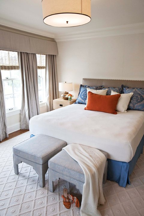 Massucco Warner Miller - bedrooms - grey drapes, grey curtains, grey valance, gray valance, valance and curtains, valance and drapes, gray headboard, blue bed skirt, blue bedskirt, gray stools, gray ottomans,