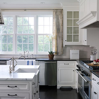 Alisberg Parker Architects - kitchens - double dishwashers, double sinks, double kitchen sinks, kitchen with 2 sinks, farmhouse sinks, island farmhouse sink, shaker cabinets, shaker kitchen cabinets,