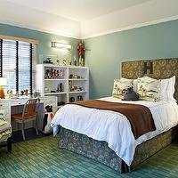 Kristen Panitch Interiors - boy's rooms - blue, green, rug, white, desk, 1006 Navy, chair, brown, upholstered, headboard, bed skirt, brown, throw blanket, blue, green, walls, paint color,