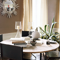 Melanie Acevedo Photography - dining rooms - taupe, paint, color, mirror, ivory, drapes, dining table, leather, dining chairs, mirror, chair rail,