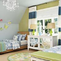 House & Home - girl's rooms - crystal, chandelier, horizontal, white, blue, striped, drapes, white, mirrored, chest, dresser, green, lamps, linen, twin, headboards, bed, nailhead trim, butterflies, blue, green, walls, paint, color, striped curtains, horizontal striped curtains,