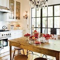 House & Home - kitchens - steel and glass doors, farmhouse table, farmhouse dining table, farmhouse island, farmhouse kitchen island, leaded glass cabinets, leaded glass kitchen cabinets, leaded glass cabinet doors, rustic bar stools, wood bar stools, herringbone floor, herringbone wood floor,
