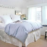 Ashley Goforth Design - bedrooms - tall headboard, studded headboard, blue duvet, bed skirt, bedskirt, turquoise nightstand, turquoise blue nightstand,
