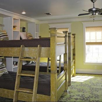 boy's rooms - bunk room, boys bunk room, boys bunk bedroom,  Kids room by Kim Fouquet  Bunk beds, chocolate brown beddingm ceiling fan, green