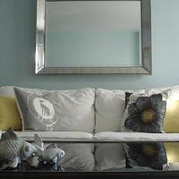 Miscellaneous - Bright makeover for new construction - Living Room Designs - Decorating Ideas - HGTV Rate My Space - Flower pillow, Venetian beaded mirror, White sofa