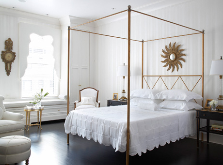 Traditional Home - bedrooms - gold, canopy, bed, gold, sunburst, mirror, white, scalloped, bedding, white, French, chair, gold, table, chair, round, ottoman, black, nightstands, striped, wallpaper, espresso wood, floors,