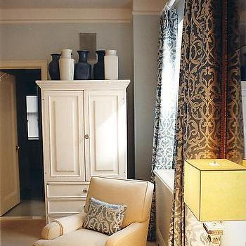 S.R. Gambrel - bedrooms - armoire, bedroom armoire, white armoire,  Gorgeous gray drapes, white armoire, white & blue vases, chair & ottoman