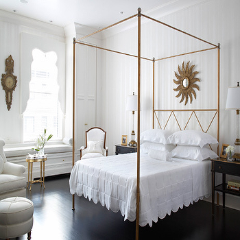 Traditional Home - bedrooms - gold canopy bed, canopy bed, gold sunburst mirror, white and gold bedroom, scalloped blanket, scalloped bedding, french chair, white and gold chair, bedroom window seat, built in window seat,