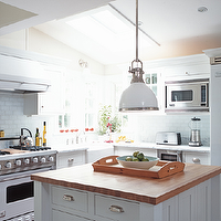 Julian Wass Photography - kitchens - white, yoke, pendant, butcher block, island, countertop, white, carrara, marble, countertops, white, subway, tiles, backsplash, white, kitchen, cabinets, butcher block, butcher block countertops, butcher block kitchen island, butcher block island,