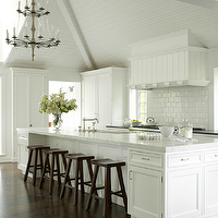 House Beautiful - kitchens - white, subway, tiles, white, kitchen, cabinets, white, carrara, marble, countertops, brown, wood, stools,  de Giulio