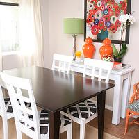 dining rooms - Orange Jars, Bamboo Fabric, Faux bamboo chair, Green lamp shade, silver bamboo Lamp, Anthropologie Bowl,  bazaarofserendipity.blogspot.com/