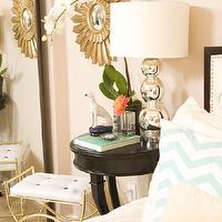 Serendipity Interiors - bedrooms - starburst mirror, pintuck bedding, twinkle living pillows, sheepskin pillow, sheepskin rug, Zgallerie bed,