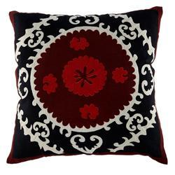 Black and Red Suzani Pillow, Square, Wisteria