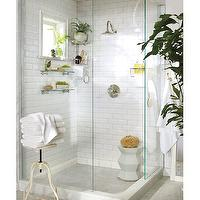 bathrooms - shower, walk in shower, walk in shower ideas, glass shower, glass shower ideas, subway tiles, white subway tiles, subway tile shower surround, shower shelves, glass shower shelves, shower stool, shower plant, plant in shower, Gooseneck Tub & Shower Set, Double Corner Shower Caddy, Sussex Glass Shelf,