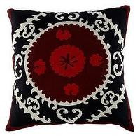 Pillows - Black and Red Suzani Pillow - Square | Wisteria - suzani, pillow