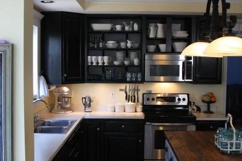 kitchens - Behr - Beluga - kitchen, black, cabinets, open, cabinets, shelving, Ikea, undercabinet, lighting, corbels, reclaimed, wood, kitchen, island,