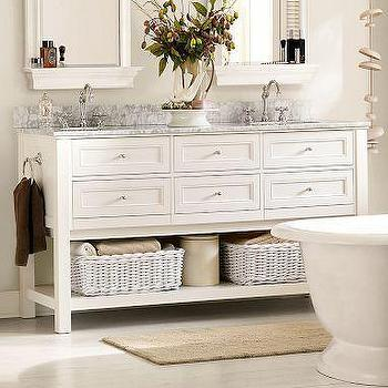 Bath - Classic Double Sink Console - White | Pottery Barn - classic, double sink, console