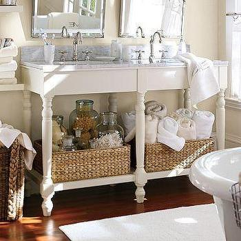 Bath - Petaluma Double Sink Console | Pottery Barn - marble, double sink, console