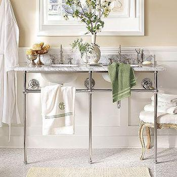 Bath - Apothecary Double Sink Console | Pottery Barn - marble, apothecary, double sink, console