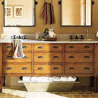Bath - Harvest Double Sink Console | Pottery Barn - double isnk, console