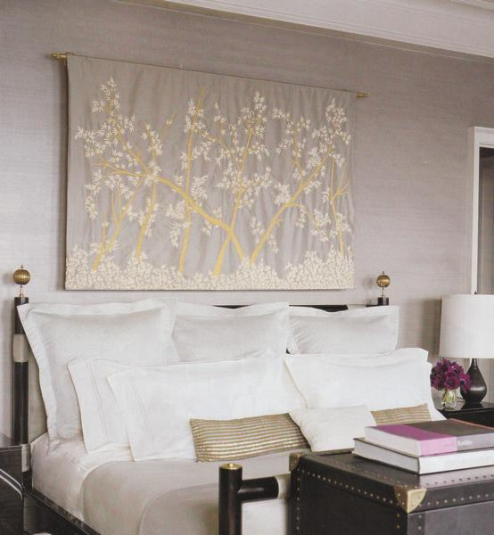 Tapestry over bed contemporary bedroom elle decor - Wall art above bed ...
