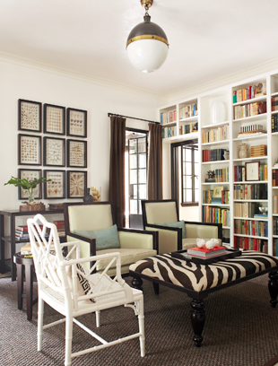 Jeff Herr Photography - living rooms - Hicks Pendant, zebra ottoman, zebra bench, built ins, library built ins, library built in cabinets, floor to ceiling bookcase, floor to ceiling bookshelf, hicks pendant, living room hicks pendant,