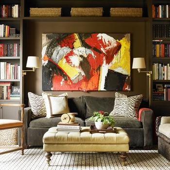 Charcoal Gray Velvet Sofa, Contemporary, media room, Courtney Giles Interiors