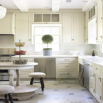 Emily Followill Photography - kitchens - topiary, farmhouse sink, stools, cream cabinets, cream kitchen cabinets, cream shaker cabinets, cream shaker kitchen cabinets, oval kitchen island,