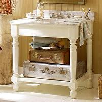 Bath - Petaluma Single Sink Console | Pottery Barn - marble, sink, console
