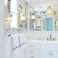 Christina Murphy Interiors - bathrooms - lotus, pendant, chandelier, white, mirror, white, modern, bathroom, cabinet, vanity, polished chrome, faucet, silver, metallic, wallpaper, Lotus Flower Chandelier,