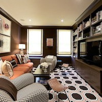 Christina Murphy Interiors - media rooms - brown media cabinets, brown built ins, brown built in cabinets, brown media cabinets, built in media cabinets, dark brown media cabinets, dark brown built ins, dark brown built in cabinets, geometric rug, salmon pink sofa, grosgrain roman shades,