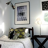 boy's rooms - White ikea circle quilt, Andy Warhol Elvis print, Ugly dolls, Flocked green and black pillow, Echino cars fabric, Handmade paper airplane mobile, black, twin, bed, table, blue, walls, boy's room, blue walls, blue paint colors, x base bedside table,